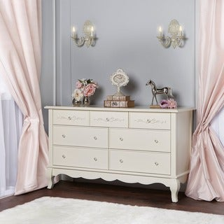 Evolur Aurora Cream Wood 7-drawer Double Dresser