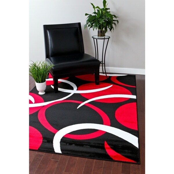 Persian Rugs Modern Trendz Red White Black Abstract Area Rug 7 X27