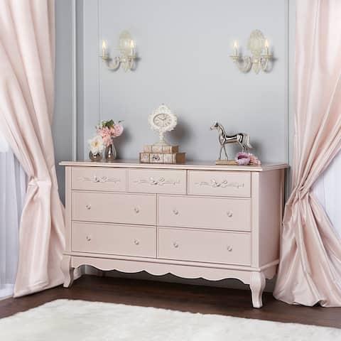Evolur Aurora Pink Wood Seven-drawer Double Dresser