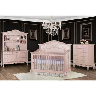 Evolur Aurora Blush Pink Pearl 5-in-1 Convertible Crib