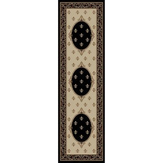 Juliette Collection Francis Ivory/Black Olefin/Polypropylene Machine-made Rug (2'3 x 7'7)