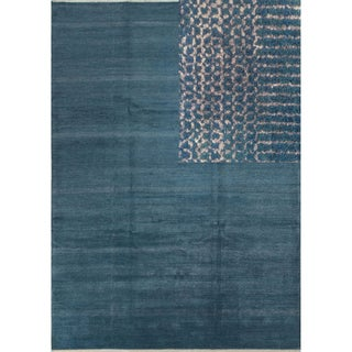 Teal Blue Wool and Viscose Fine Grass Rug (10' x 14'1)