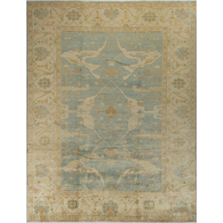 Oushak Egerton Light-blue Wool Rug (8'11 x 11'6)