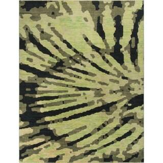 Haddon Green/Black Hand-knotted Turkish Wool Rug (9'2 x 11'11)