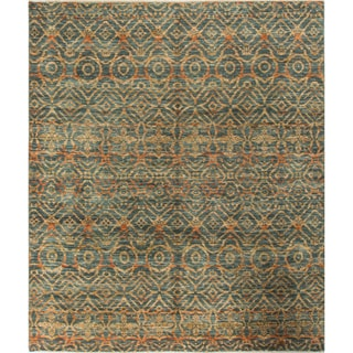Ikat Firth Green/Rust Wool Rug (8'0 x 9'6)
