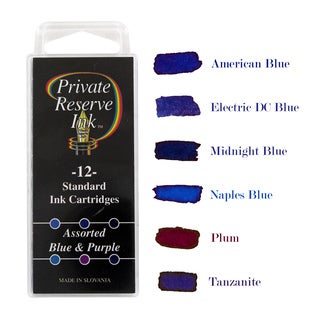 Private Reserve Fountain Pen Standard Ink Cartridges, Blue & Purple Assorted Colors, Pack of 12