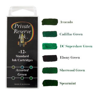 Private Reserve Plastic Fountain Pen Standard Ink Cartridges Assorted Greens (Pack of 12)