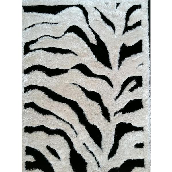 Shop Zebra White/Black Polyester Shag Area Rug