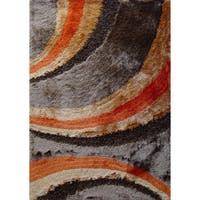 Beige/Brown/Rust Ocean Wave Design Shag Area Rug - 5' x 7'