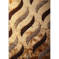 Shag Tiger Striped Beige/Brown Polyester Area Rug - 5' x 7'