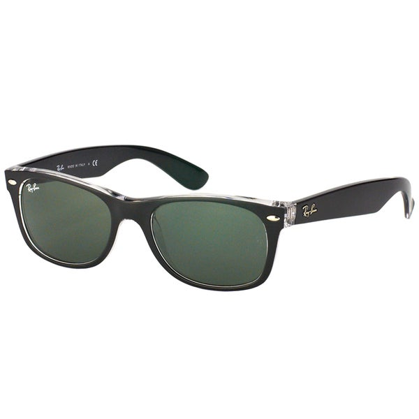 fda8241546a Ray-Ban New Wayfarer Black on Crystal Plastic Sunglasses with Green Lens
