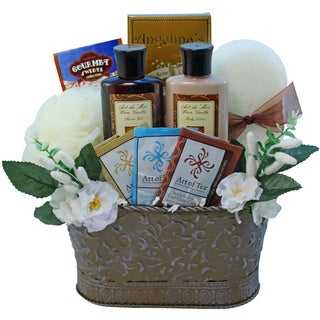 Tranquil Delights Spa Bath and Body Gift Set Basket with Warm Vanilla Tea