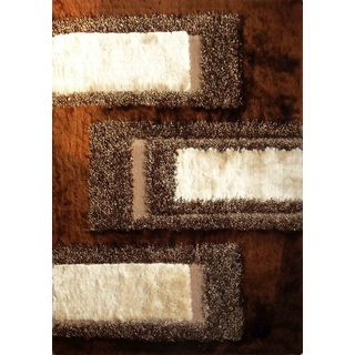 Beige/Brown/Black Polyester In 'N' Out Design Shag Area Rug (5' X 7')
