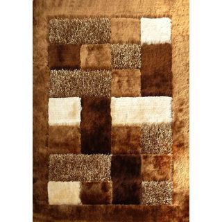 Beige/Brown Polyester Shag Area Rug with Brown Checkered Design and Borders (5' x 7')