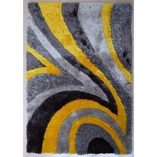 Shag Geometric Design Yellow/Silver/Grey Polyester Area Rug (5' x 7')