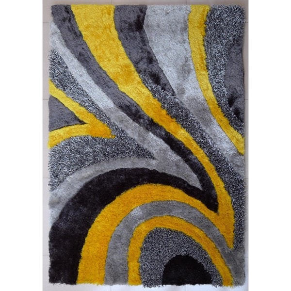 Shop Shag Geometric Design Yellow Silver Grey Polyester