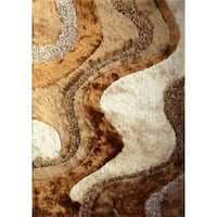 Beige/Brown Polyester Abstract Shag Area Rug - 5' x 7'