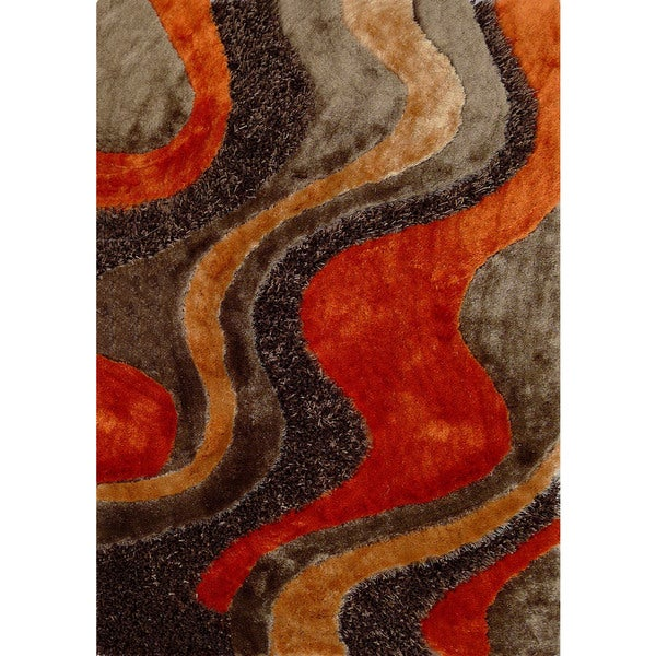 Shop Abstract Art Sunset Design Orange Beige Brown Shag
