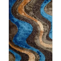 Abstract Art Blue, Beige, and Brown Field Design Color Combination Shag Area Rug - 5' x 7'