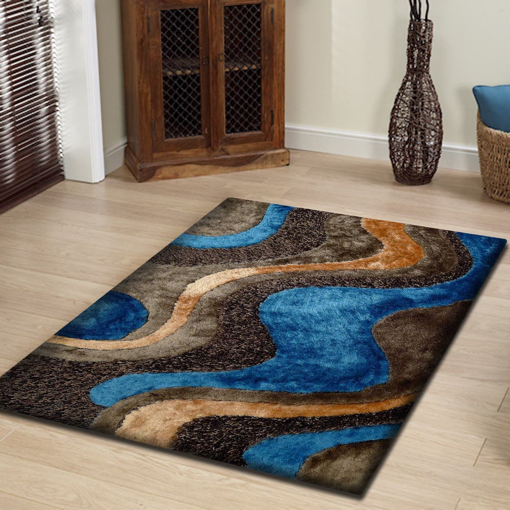 Abstract Art Blue Beige And Brown Field Design Color Combination Shag Area Rug 5 X 7