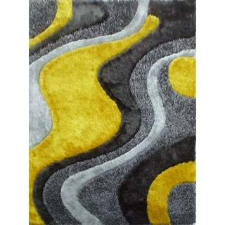Abstract Art Sunrise Design Yellow/Silver/Grey Shag Area Rug (5' x 7')