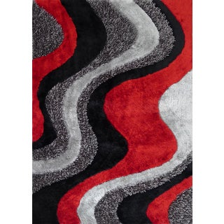 Red/Silver/Grey/Black Abstract Art Mountain Design Shag Area Rug (5' x 7')