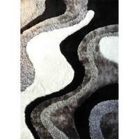 Abstract Art Ocean Wave Design White/Silver/Grey/Black Shag Area Rug - 5' x 7'