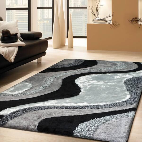 Abstract Art Ocean Wave Design White Silver Grey Black Area Rug 5 X 7
