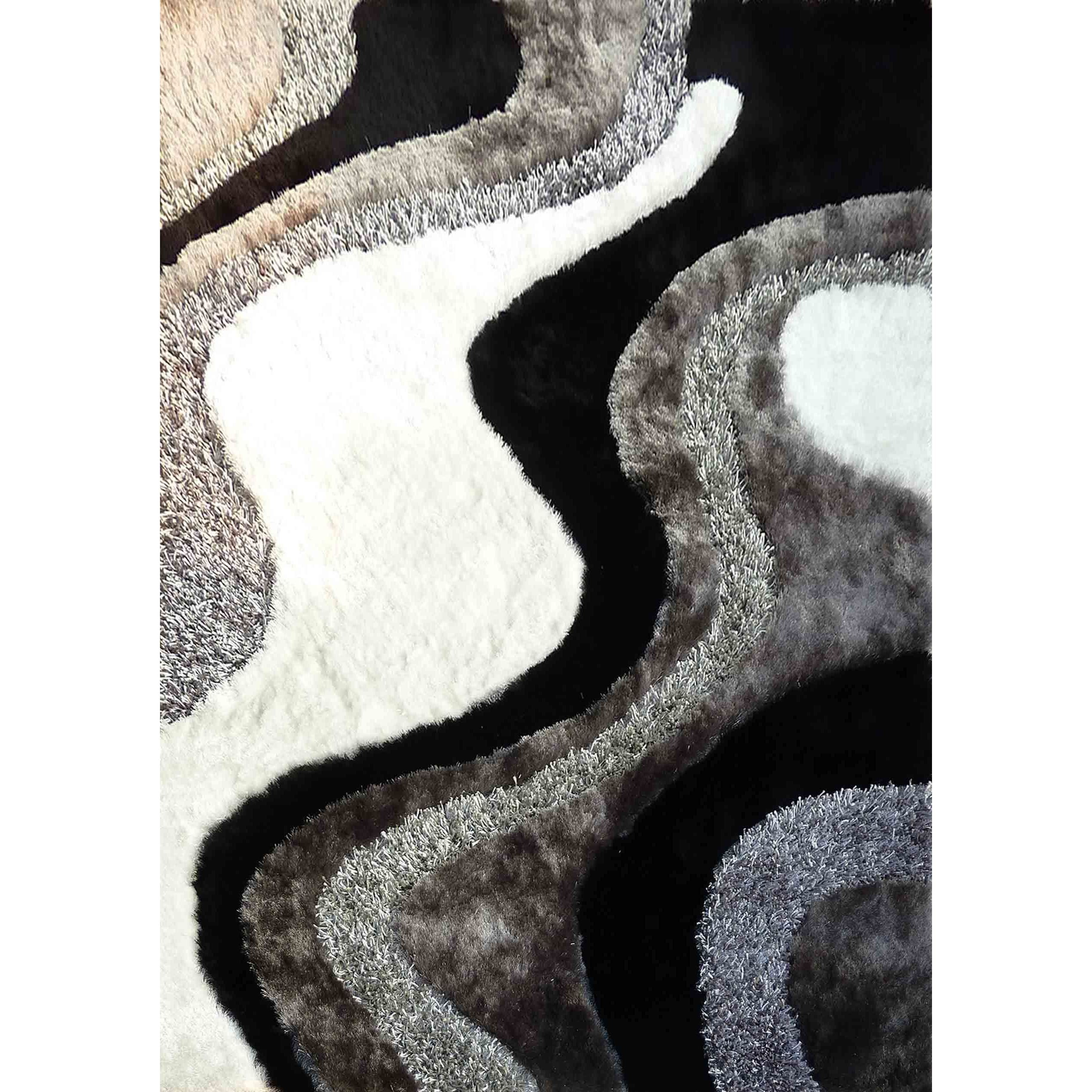 Picture of: Abstract Art Ocean Wave Design White Silver Grey Black Shag Area Rug 5 X 7 Overstock 12079501