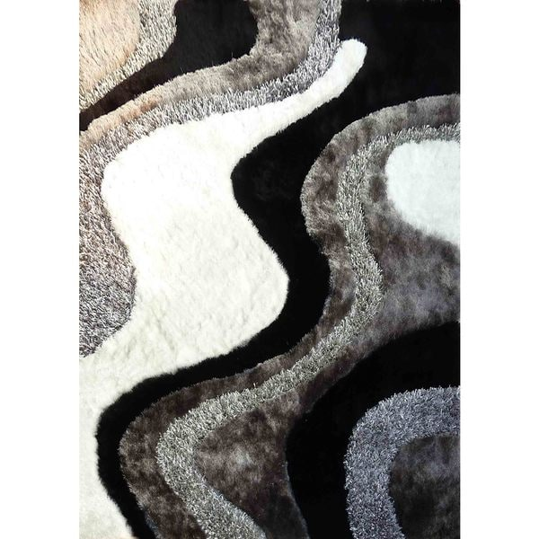 Shop Abstract Art Ocean Wave Design Whitesilvergreyblack Shag