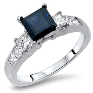 Noori 14k White Gold Blue Sapphire 3/4ct TDW Diamond Engagement Ring (G-H, SI1-SI2)