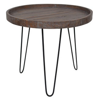 Round Brown Reclaimed Wood Table
