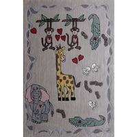 Kids Happy Life Animal-themed Beige Hand-tufted Polyester Rug - 4' x 6'