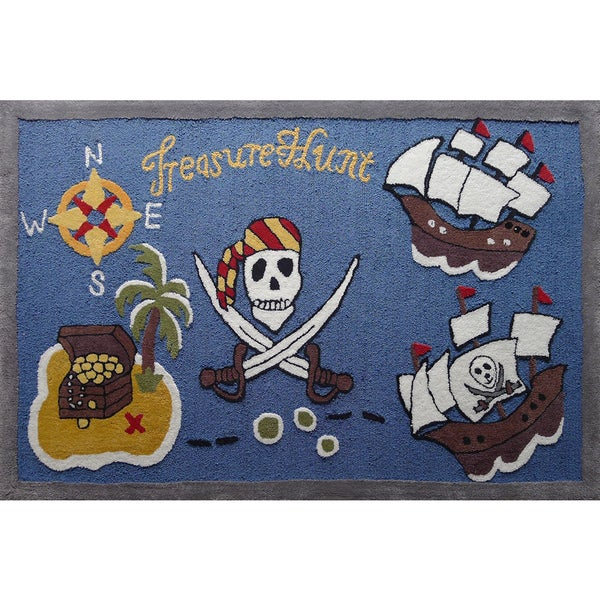 Blue/Multicolor Polyester Pirates Hand-tufted Kids Rug (4' x 6') - 4' x 6'