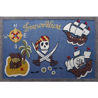 Blue/Multicolor Polyester Pirates Hand-tufted Kids Rug (4' x 6')