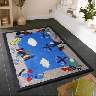 Airplane and Helicopter Blue Hand-tufted Polyester Rug (4' x 6')