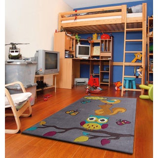 Hand-tufted Multicolored Polyester Animal Friends Kids' Rug (4' x 6')