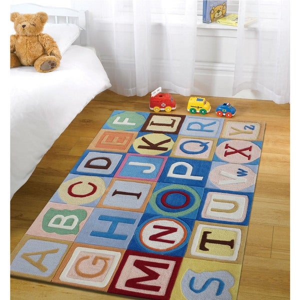 Multi-color Polyester Hand-tufted Alphabet Rug (4' X 6