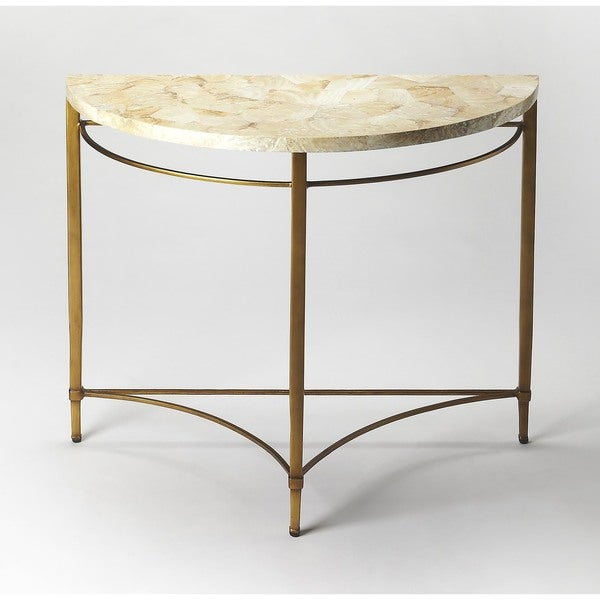 Handmade Butler Marlena Cabebe Shell Demilune Console Table (Philippines)