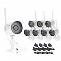 Funlux Smart Security White Camera System with 8 HD Wireless Cameras with Night Vision