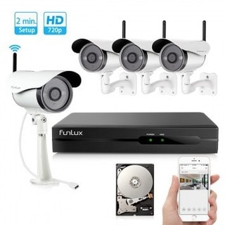 Funlux Black, White Aluminum 4-channel NVR with 4 Outdoor WiFi Network IP Cameras