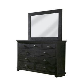 Progressive Willlow Black Pine Wood Drawer, Dresser, and Mirror