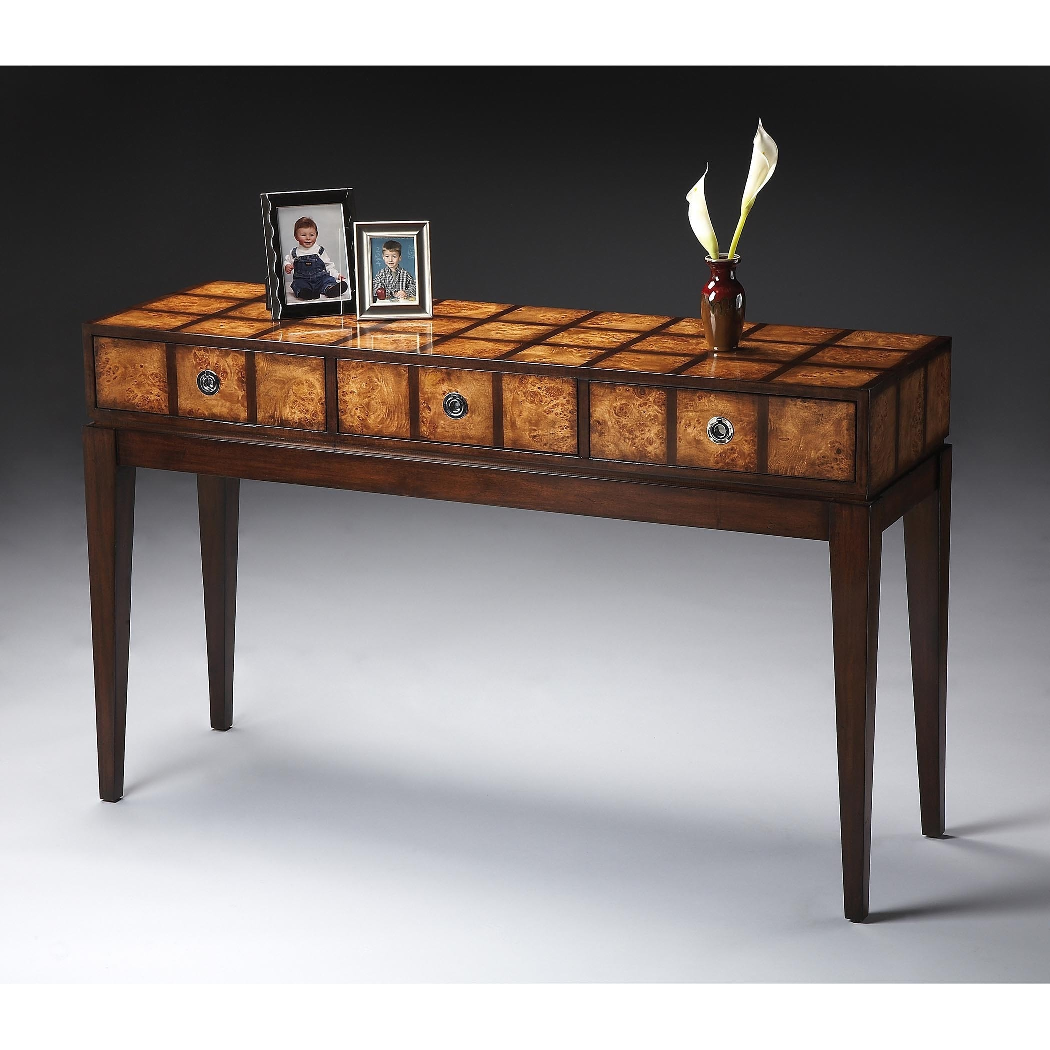 main furniture joss white table overlays three drawer pdp reviews with contrasting console modern partin drawers