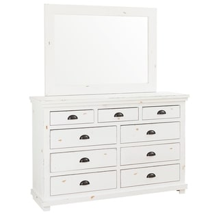 Willow Distressed White Pine and Veneer 9-drawer Dresser and Mirror