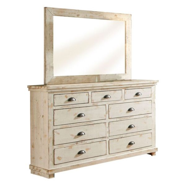 Willow Distressed White Pine And Veneer 9 Drawer Dresser Mirror