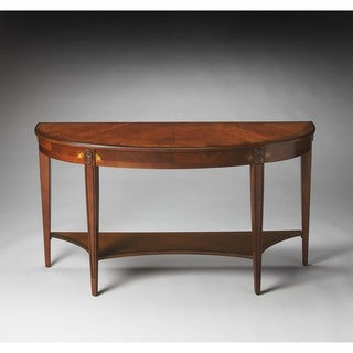 Handmade Butler Astor Olive Ash Burl Demilune Console Table (China)