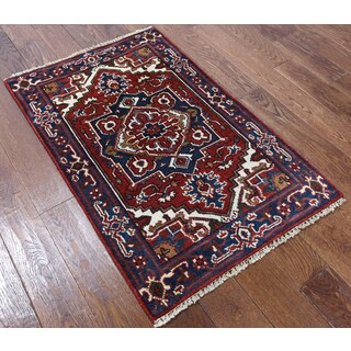 Heriz Red Wool Hand-Knotted Oriental Rug (2' 7 x 4')
