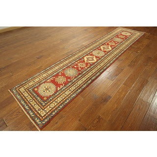 Red Wool Oriental Heriz Hand-knotted Rug (2'8 x 11')