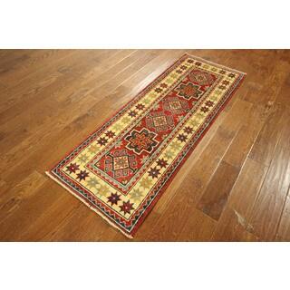 Red Wool Oriental Kazak Hand-knotted Rug (2'2 x 5'8)