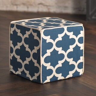 Fynn Cadet Macon Blue/Off-white Cotton 12.5-inch Square Saxony Corded Zippered Foam Ottoman
